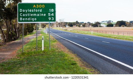 Australian Road Sign along the A300 with distance to the following towns, Dalyesford, Castlemaine and Bendigo.