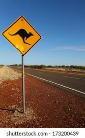 australian road sign. Kangaroo
