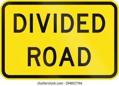 Australian road warning sign - Divided road