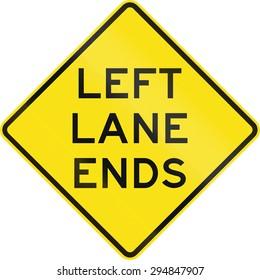Australian road warning sign - Left lane ends