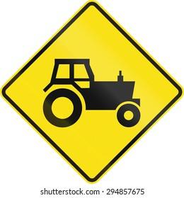Australian road warning sign - Tractor/farm vehicle crossing