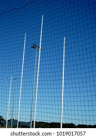Australian rules football concept with net and poles