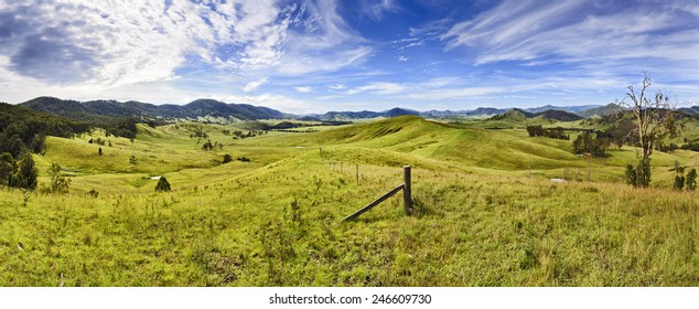 Australian rural agricultural area developed for cattle production - view over green grazed hills in cobark valley, NSW