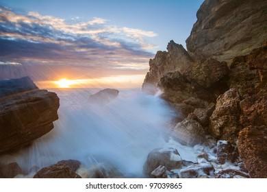 Australian seascape at sunrise (Miami beach, qld, Australia)