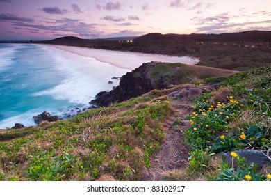 australian seascape at twilight with beautiful beach in background (cabarita,nsw,australia)