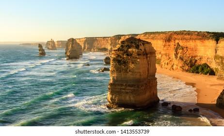 Australian seaside, Twelve Apostles rock formations near Great Ocean Road , Port Campbell National Park, Australia