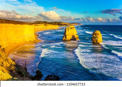 Australian state of Victoria. The Twelve Apostles - a group of limestone rocks in the ocean near the coast. Travel to the edge of the earth. Concept of active and ecological tourism