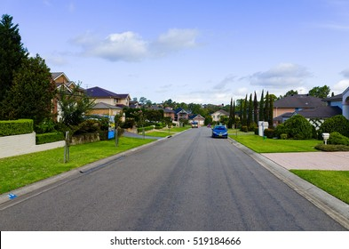 Australian suburban street with typical middle class houses in Australia