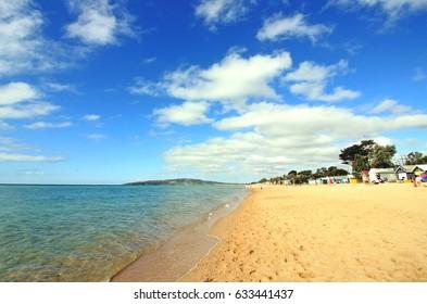 Australian summer sea beach, Dromana Beach, Mornington Peninsula, Victoria, Australia