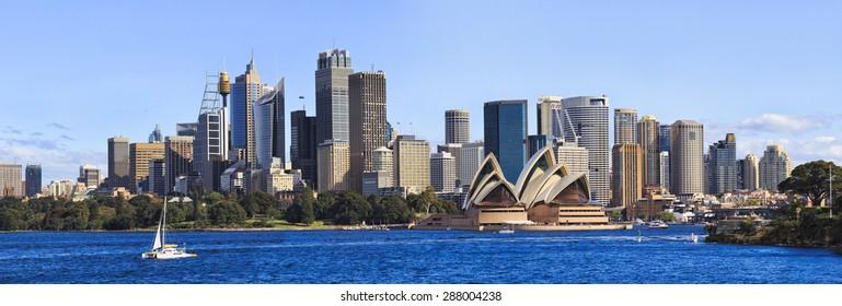 Australian SYdney cityline panorama from harbour with major skyscrapers forming landmark CBD