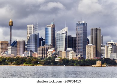 Australian Sydney landmark - city CBD high rises and towers forming megapolis cityscape summer day from harbour