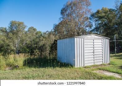 Australian tin shed in a rural backyard