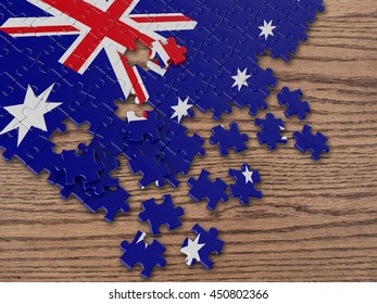 Australian Wavy Flag with wood 3D Rendering