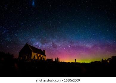 Australis aurora and Milky way at the Church of the Good Shepherd, Lake Tekapo, New Zealand