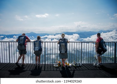 Gröbming / Austria - 08.05.2017: Tourists waiting for ziplining