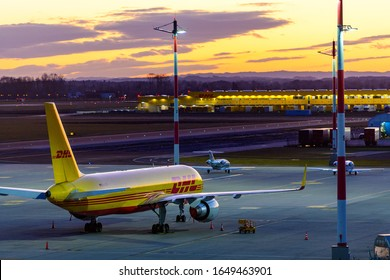 hörsching, austria, 18 feb 2020, boeing 757 Cargo Aircraft operated by DHL at Airport Linz