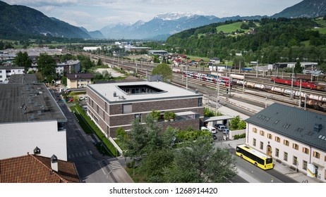 AUSTRIA, WÖRGL -  18. May 2017: center of woergl in tyrol from above