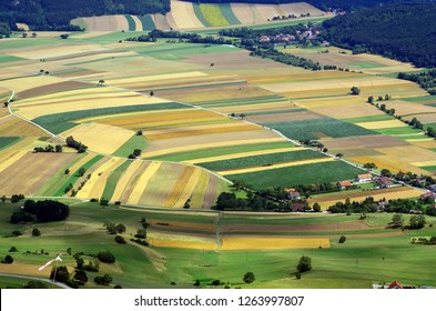 Austria, aerial view to agricultural landscape with different fields