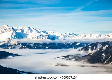 Austria Aips Salzburger Land panorama. Winter mountains landscape outdoor background.