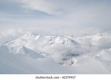 Austria. Alps. Kaprun glacier ski resort. View on precipice and mountains at a horizon