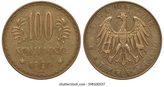 Austria Austrian golden coin 100 one hundred shillings 1929,  digits of face value flanked by olive branches, date below flanked by stars, Austrian eagle holding sickle and hammer in circle of beads,