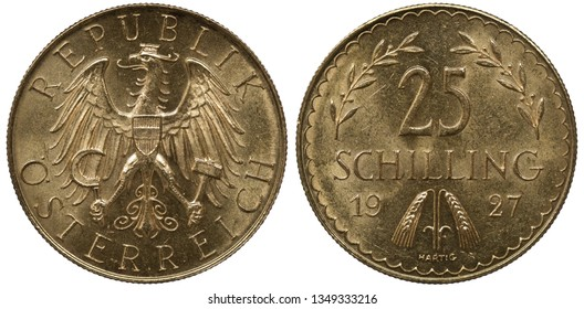 Austria Austrian golden coin 25 twenty five shillings 1927, eagle holding sickle and hammer, shield on chest, denomination flanked by laurel sprigs, two grain stalks divide date below,