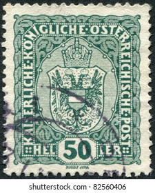 AUSTRIA - CIRCA 1916: A stamp printed in Austria, shows the national emblem of the empire, circa 1916