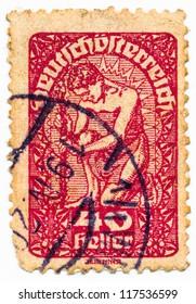 AUSTRIA - CIRCA 1920: A stamp printed in Austria, shows allegory, austria, circa 1920