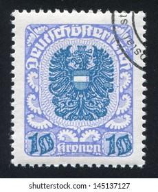 AUSTRIA - CIRCA 1920: stamp printed by Austria, shows ornament and eagle, circa 1920