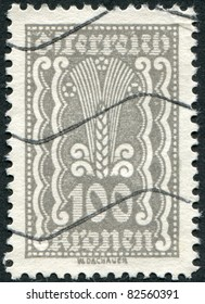 AUSTRIA - CIRCA 1922: A stamp printed in Austria, shows Symbols of Agriculture, circa 1922