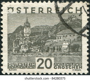 AUSTRIA - CIRCA 1929: A stamp printed in Austria, is shown Durnstein, circa 1929