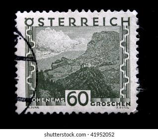 AUSTRIA - CIRCA 1931: A stamp printed in Austria shows Ohenems - castle on the mountain, circa 1931