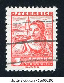 AUSTRIA - CIRCA 1932: stamp printed by Austria, shows Costumes in Burgenland, circa 1932