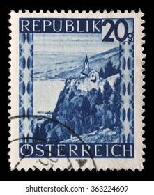 AUSTRIA - CIRCA 1945: stamp printed by Austria, shows Lake Constance, circa 1945