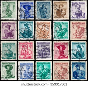 AUSTRIA - CIRCA 1948: stamps printed in Austria, show women in national dress