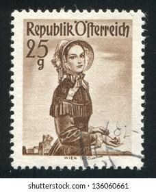 AUSTRIA - CIRCA 1949: stamp printed by Austria, shows Woman in Austian costumes, circa 1949