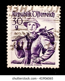 AUSTRIA - CIRCA 1952: A stamp printed in Austria shows image of a lady, series, circa 1952