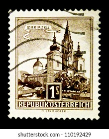 "AUSTRIA - CIRCA 1957: A stamp printed in Austria shows image Mariazell Basilica, with the inscription ""Mariazell"", from the series ""Buildings in Austria"", circa 1957"