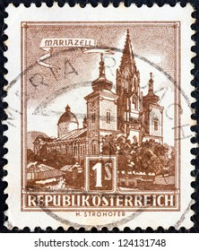 "AUSTRIA - CIRCA 1957: A stamp printed in Austria from the ""Buildings "" issue shows Mariazell Basilica, circa 1957."