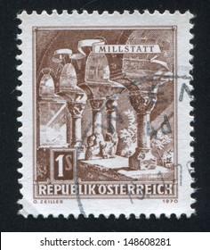 AUSTRIA - CIRCA 1957: stamp printed by Austria, shows Romanesque columns, Millstatt Abbey, circa 1957