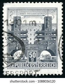 AUSTRIA - CIRCA 1959: stamp printed in Austria (Osterreich) shows Heiligenstadt (Karl Marx Hof, Karl Marx Court), Vienna; buildings series; Scott 619 A176 50g gray black, circa 1959