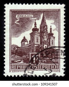 AUSTRIA - CIRCA 1959: A stamp printed in Austria shows image of the Austrian city of Mariazell, series, circa 1959