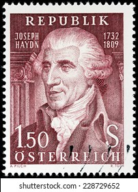 AUSTRIA - CIRCA 1959: A stamp printed by AUSTRIA shows portrait of a prominent and prolific composer of the Classical period (Franz) Joseph Haydn known as Father of the Symphony, circa 1959.