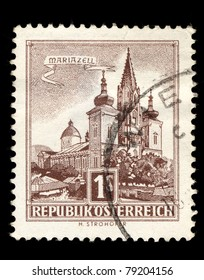 AUSTRIA - CIRCA 1959: A stamp printed in Austria shows image of the Austrian city of Mariazell, series, circa 1955