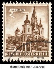 AUSTRIA - CIRCA 1960: A stamp printed in Austria shows Mariazell Basilica of the Birth of the Virgin Mary (autotype print), series, circa 1960