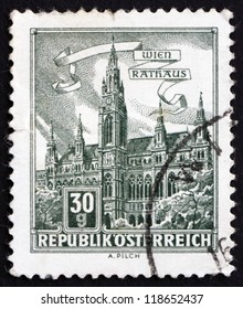 AUSTRIA - CIRCA 1962: a stamp printed in the Austria shows City Hall, Vienna, circa 1962