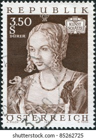 "AUSTRIA - CIRCA 1971: A stamp printed in Austria, shows portrait of the ""Young Venetian"" by Albrecht Durer, circa 1971"
