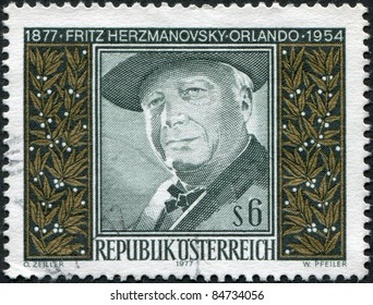 AUSTRIA - CIRCA 1977: A stamp printed in Austria, is dedicated to the 100th anniversary of Fritz von Herzmanovsky-Orlando, circa 1977