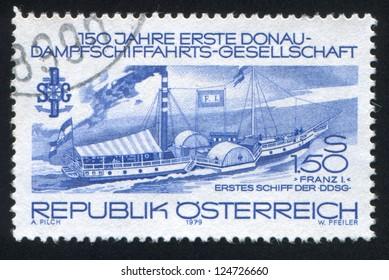 AUSTRIA - CIRCA 1979: stamp printed by Austria, shows Steamer Franz I, circa 1979