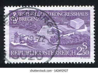 AUSTRIA - CIRCA 1979: stamp printed by Austria, shows Model of Festival and Convention Center in Bregenz, circa 1979